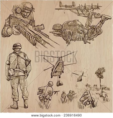 An Hand Drawn Vector Collection Of Soldiers In Different Situations. Private, Brothers In Arms, Army