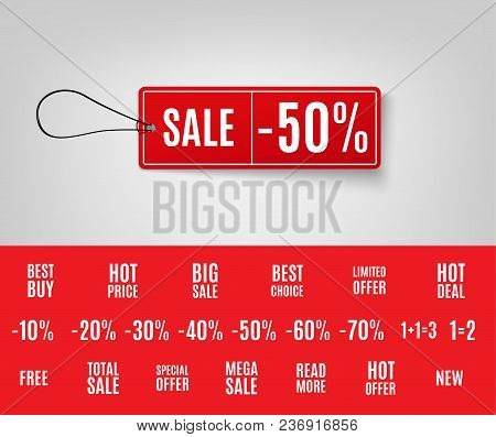 Sale Tag 3d. Vector Red Sale Tags With Different Promotional Texts. Vector Illustration Eps 10
