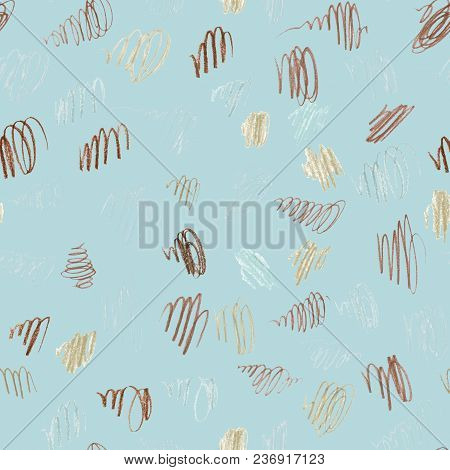 Light Blue Seamless Pattern Illustration With Color Pencils Brown, Beige And Blue Spots And Blemishe