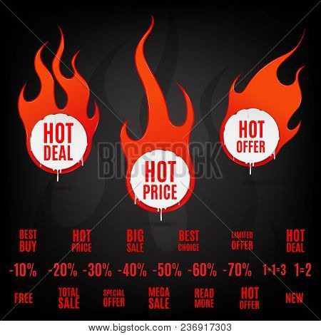 Fire And Flame Sale Clearance And Hot Deal Text Labels Flat Icon Set Isolated Vector Illustration On
