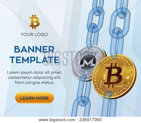 Crypto Currency Editable Banner Template. Bitcoin. Monero. 3d Isometric Physical Bit Coins. Golden B