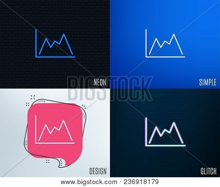 Glitch, Neon Effect. Line Chart Icon. Financial Growth Graph Sign. Stock Exchange Symbol. Trendy Fla