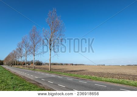 Dutch Farmland In Spring With Bare Fields Waiting For Growth Of Cereals