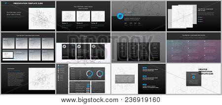 Minimal Presentations, Portfolio Templates. Simple Elements On Black Background. Brochure Cover Vect