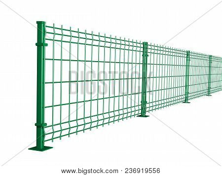 Grating Wire Industrial Fence Panels, Green Pvc Metal Fence Panel 3d Illustration On Isolated White