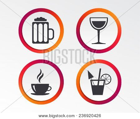Drinks Icons. Coffee Cup And Glass Of Beer Symbols. Wine Glass And Cocktail Signs. Infographic Desig