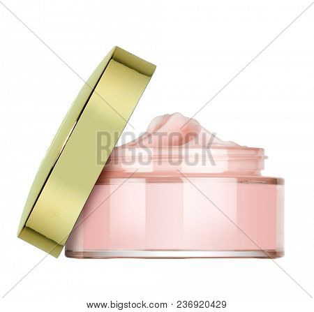 glass little vase of beauty cream with golden cap, isolated on white