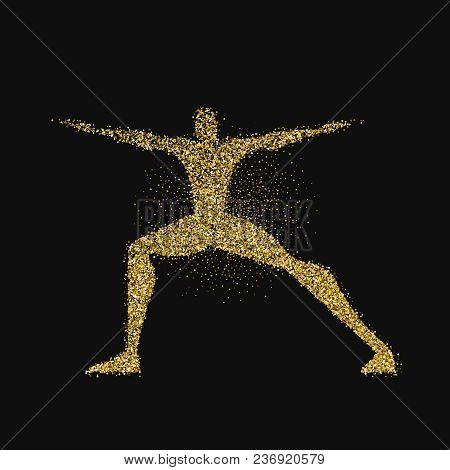 Man Doing Yoga Pose Silhouette In Gold Glitter
