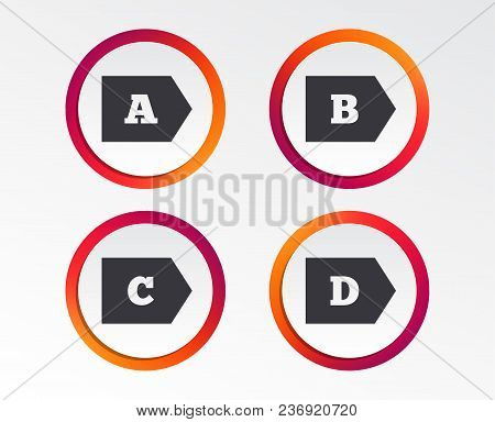 Energy Efficiency Class Icons. Energy Consumption Sign Symbols. Class A, B, C And D. Infographic Des