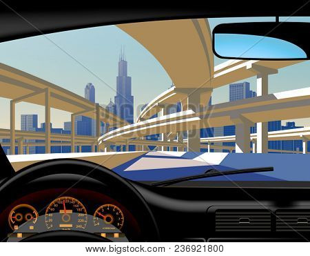 View from inside the car on the highway overpass and city skyline. Modern urban life conceptual illustration