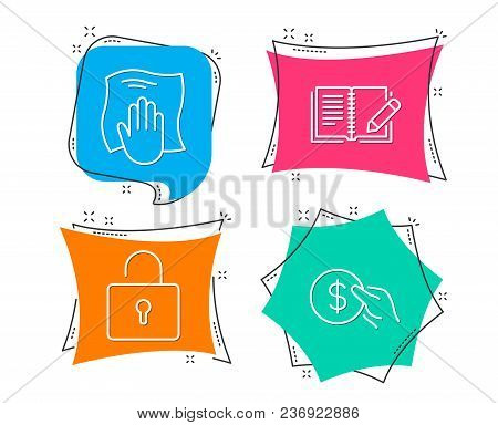 Set Of Washing Cloth, Lock And Feedback Icons. Payment Sign. Wipe With A Rag, Private Locker, Book W