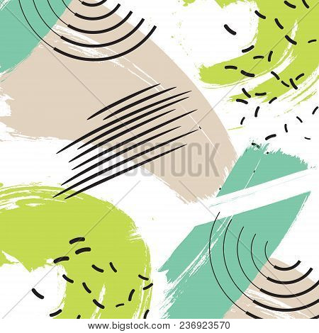 Hand Painted Blue Brush Strokes In Green Pastel Beige With Background. Grunge Abstract Repeating Bac