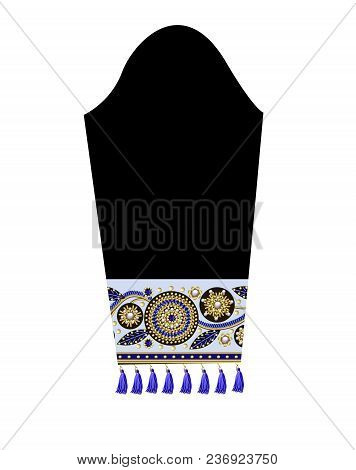 Design Sleeve With Border Of Patches With Flowers, Embroidered Sequins, Beads And Pearls And Fringe.