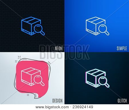 Glitch, Neon Effect. Search Package Line Icon. Delivery Box Sign. Parcel Tracking Symbol. Trendy Fla