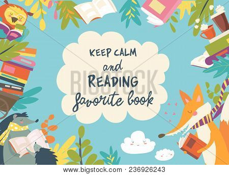 Cute Frame Composed Of Animals Reading Books. Vector Illustration