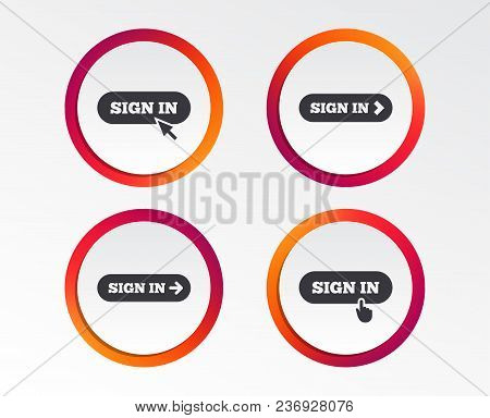 Sign In Icons. Login With Arrow, Hand Pointer Symbols. Website Or App Navigation Signs. Infographic