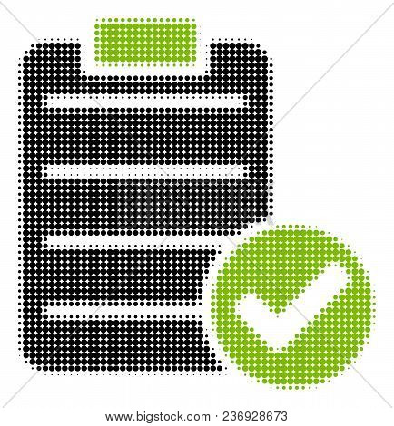 Approve List Halftone Vector Icon. Illustration Style Is Dotted Iconic Approve List Icon Symbol On A