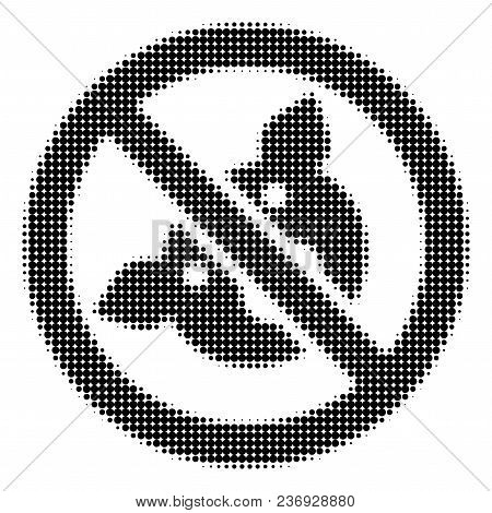 Banned Pig Halftone Vector Icon. Illustration Style Is Dotted Iconic Banned Pig Icon Symbol On A Whi