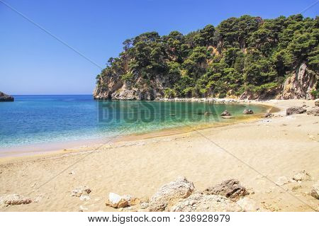 Beautiful Sandy Beach In Preveza Area. Greece