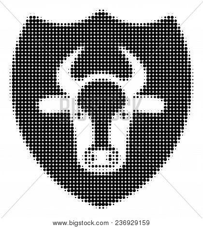 Bull Shield Halftone Vector Pictogram. Illustration Style Is Dotted Iconic Bull Shield Icon Symbol O