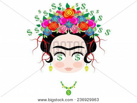 Frida Kahlo Cartoon, Emoji Baby Frida Dollar Money Emoticon Portrait With Crown Of Colorful Flowers,