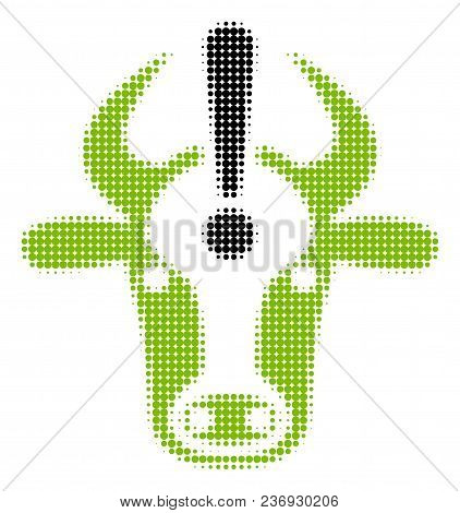 Cow Error Halftone Vector Icon. Illustration Style Is Dotted Iconic Cow Error Icon Symbol On A White