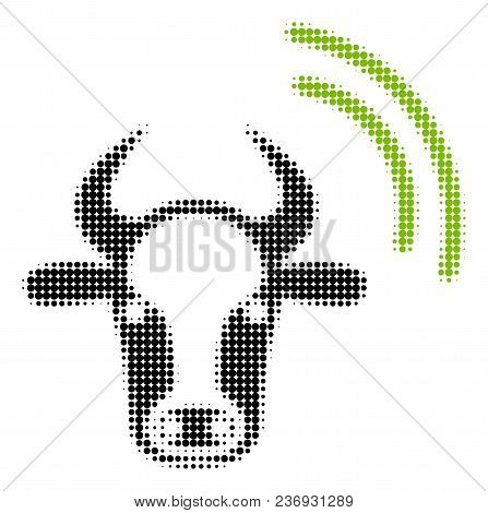 Cow Radio Signal Halftone Vector Pictogram. Illustration Style Is Dotted Iconic Cow Radio Signal Ico