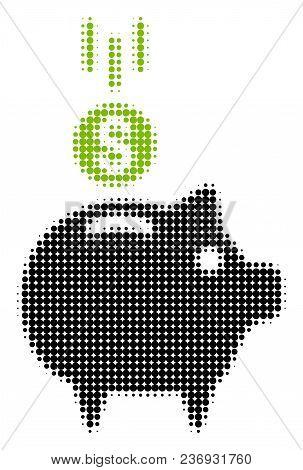 Deposit Piggy Bank Halftone Vector Pictogram. Illustration Style Is Dotted Iconic Deposit Piggy Bank