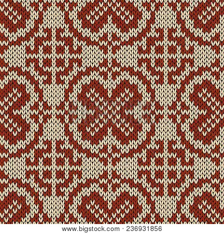 Knitting Motley Orient Ethnic Background In Beige And Brown Colors, Seamless Knitting Vector Pattern