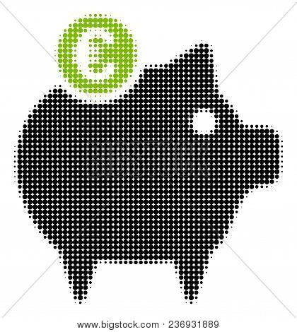 Euro Piggy Bank Halftone Vector Icon. Illustration Style Is Dotted Iconic Euro Piggy Bank Icon Symbo