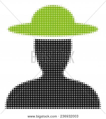 Farmer Person Halftone Vector Icon. Illustration Style Is Dotted Iconic Farmer Person Icon Symbol On