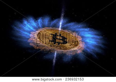 Gold Coin Of Bitcoin Is Flying In Space. New Technologies, New Values. Ufo. Elements Of This Image F