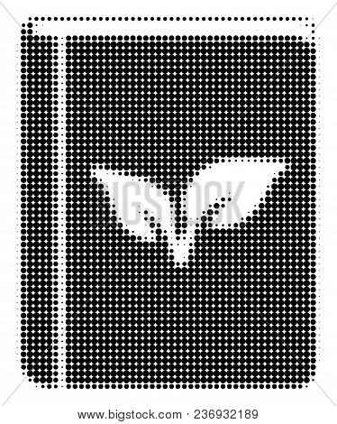 Flora Book Halftone Vector Pictogram. Illustration Style Is Dotted Iconic Flora Book Icon Symbol On