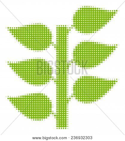 Flora Plant Halftone Vector Pictogram. Illustration Style Is Dotted Iconic Flora Plant Icon Symbol O