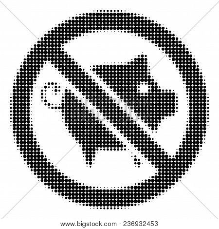 Forbidden Pig Halftone Vector Pictogram. Illustration Style Is Dotted Iconic Forbidden Pig Icon Symb