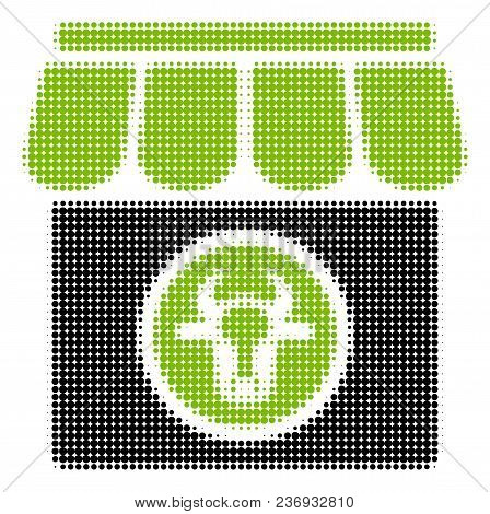 Livestock Farm Halftone Vector Icon. Illustration Style Is Dotted Iconic Livestock Farm Icon Symbol