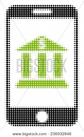 Mobile Bank Halftone Vector Icon. Illustration Style Is Dotted Iconic Mobile Bank Icon Symbol On A W