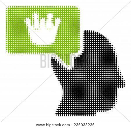 Person Dream Crown Halftone Vector Pictogram. Illustration Style Is Dotted Iconic Person Dream Crown