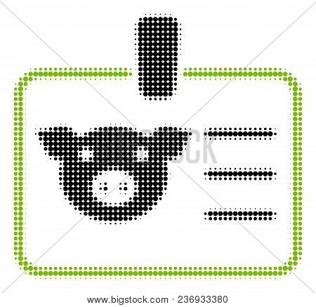 Pig Badge Halftone Vector Icon. Illustration Style Is Dotted Iconic Pig Badge Icon Symbol On A White