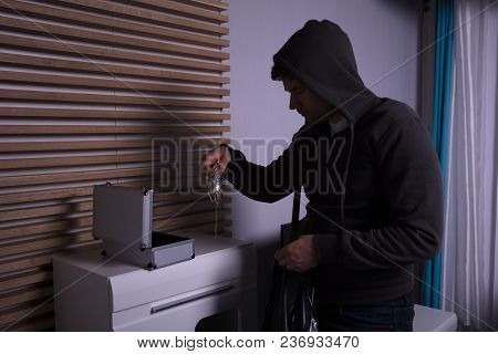 Robber Standing In Living Room Holding Flashlight