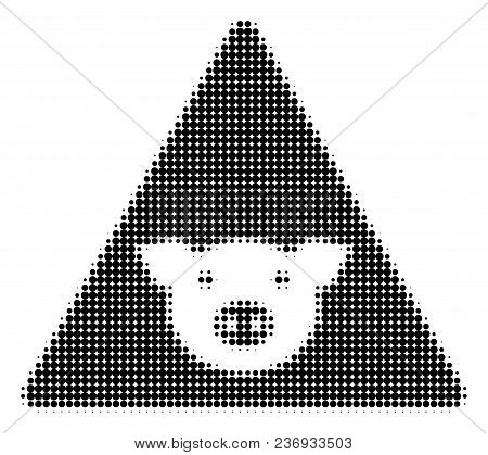 Pig Error Halftone Vector Icon. Illustration Style Is Dotted Iconic Pig Error Icon Symbol On A White
