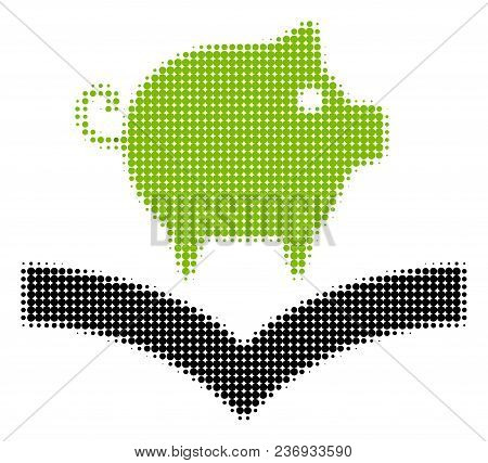 Pig Knowledge Halftone Vector Icon. Illustration Style Is Dotted Iconic Pig Knowledge Icon Symbol On