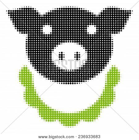 Pig Reward Halftone Vector Icon. Illustration Style Is Dotted Iconic Pig Reward Icon Symbol On A Whi