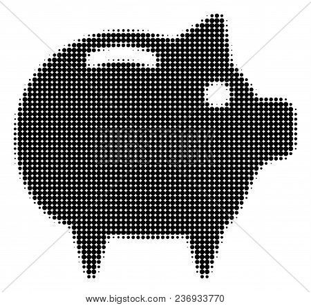Piggy Bank Halftone Vector Icon. Illustration Style Is Dotted Iconic Piggy Bank Icon Symbol On A Whi