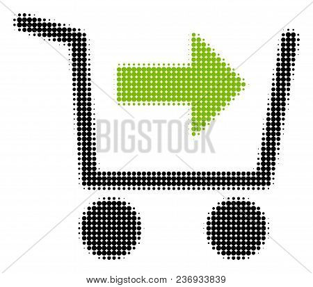 Purchase Cart Halftone Vector Icon. Illustration Style Is Dotted Iconic Purchase Cart Icon Symbol On