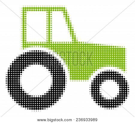 Wheeled Tractor Halftone Vector Pictogram. Illustration Style Is Dotted Iconic Wheeled Tractor Icon