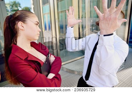 Noisy Quarrel With The Head Of The Office Employee. A Man Screams At A Woman. Director's Cry