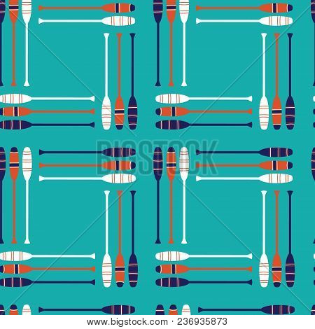 Seamless Vector Pattern With Vintage Retro Orange, Navy, White Oars With An Aqua Background In Repea