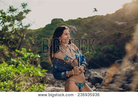 Young Fashion Model Woman In Bikini Having Fun Outdoors