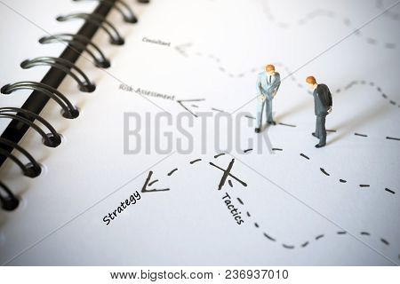 Businessmen Standing And Giving Advice With Arrow To Strategy And The End For Tactics